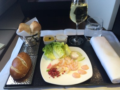 Etihad A380 Business Suite review food starter