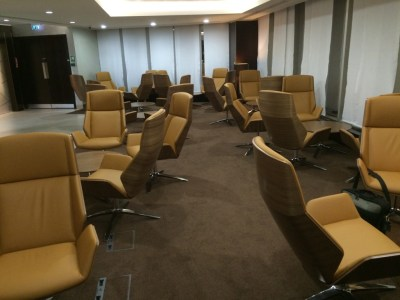 Seating area Etihad lounge London Heathrow Terminal 4 review