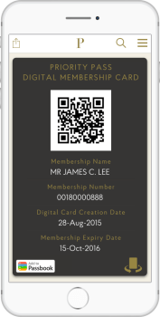 Priority Pass digital membership card