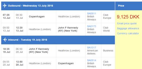 British Airways Copenhagen New York