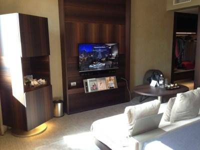 ME Milan room TV sofa wardrobe