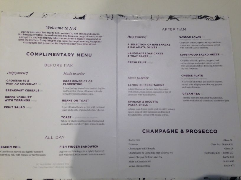 Sofitel Heathrow Room Service Menu