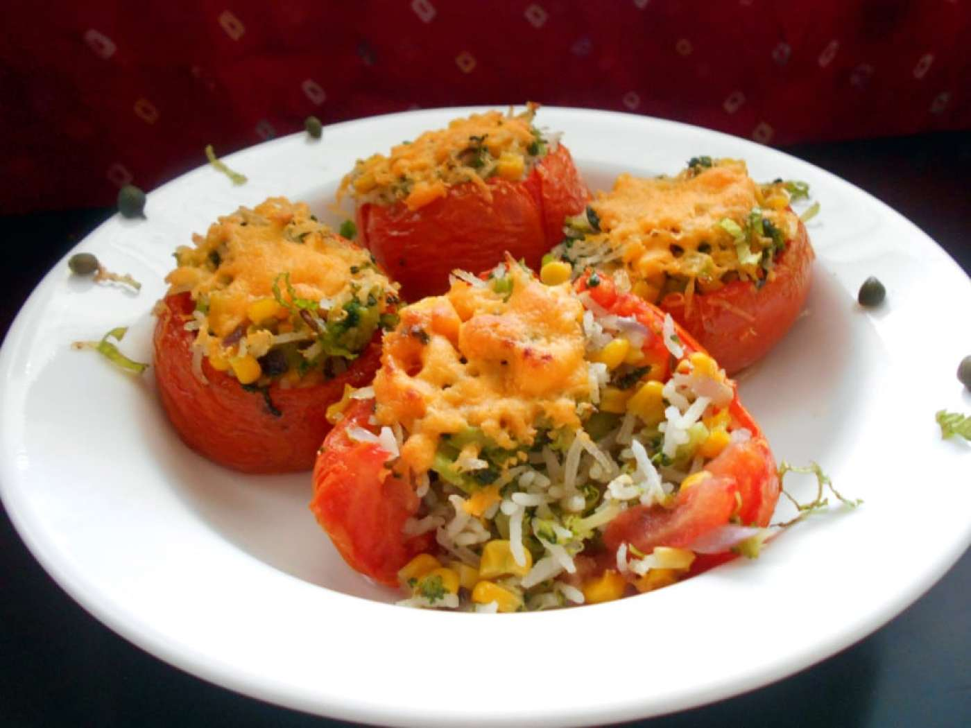 Stuffed Tomatoes - Stuffed with rice, corn and broccoli. Quick dinner time recipe for the whole family