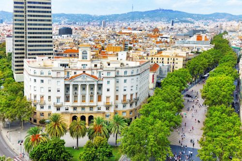 Panorama on Barcelona city from Columbus monument.Barcelona. Spain