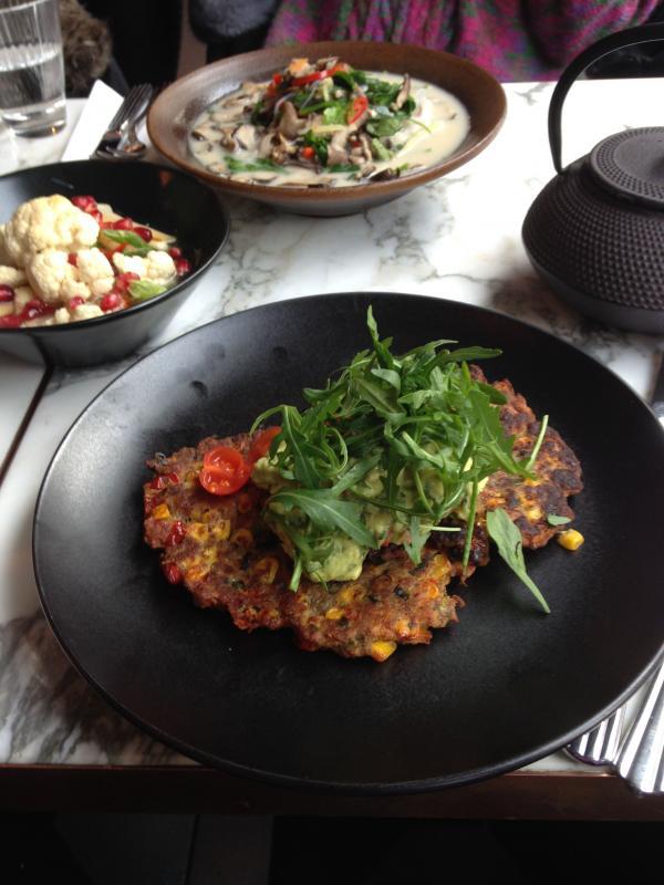 sweetcorn pancakes we love redemption bar healthy, vegan food by Healthista