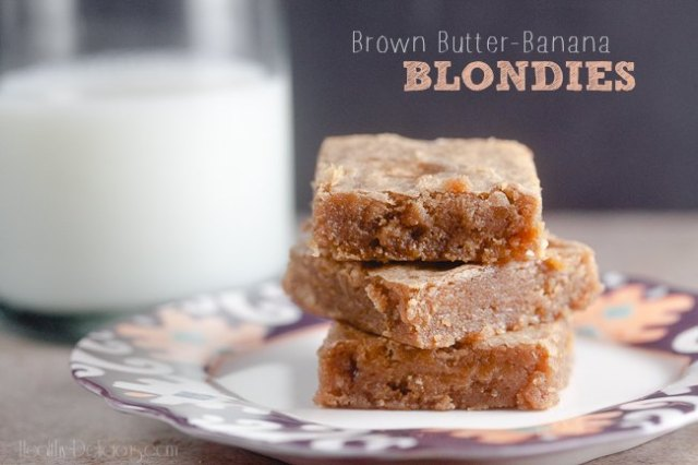 Brown Butter-Banana Blondies from Healthy-Delicious.com #Recipe