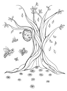Drawing of wild bee hive