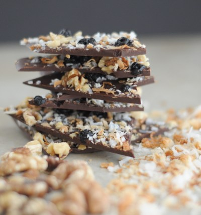 Blueberry, Walnut and Toasted Coconut Chocolate Bark