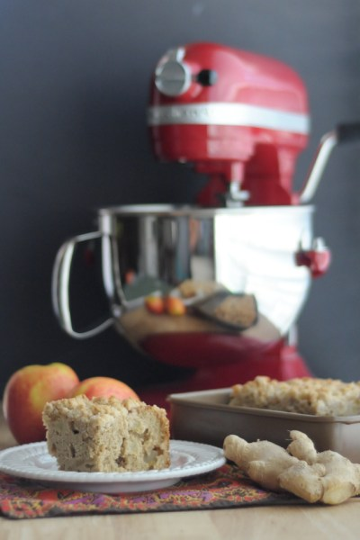 Triple Ginger Apple Streusel Coffee Cake