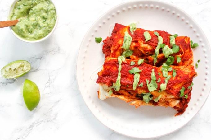 Sweet Potato Chickpea Enchiladas - gluten-free, vegan, plant-based, egg-free, dairy-free