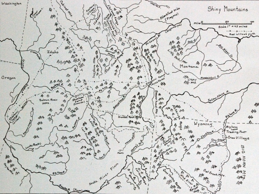 A draft of a map of Red Willow's journey