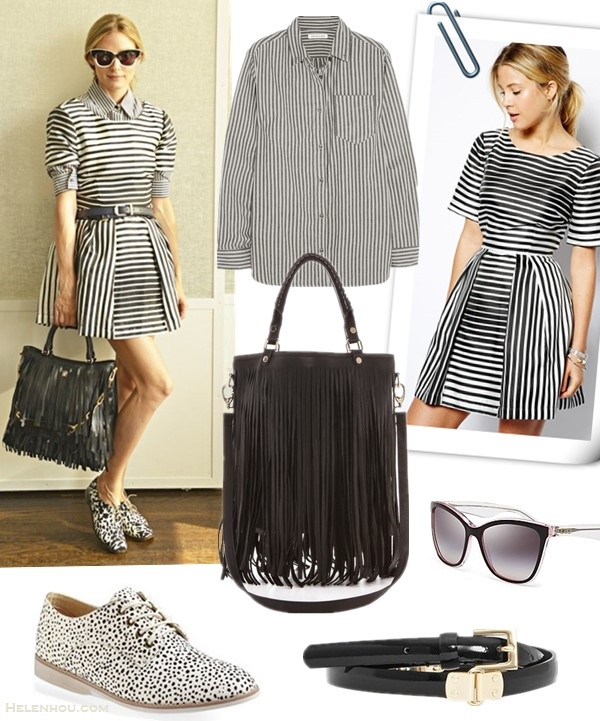 (Spring)/Summer Outfit Ideas 2014; Celebrity street style; how to wear black and white; how to wear stripes Clockwise from top left:   Shirt: Étoile Isabel Marant Waida oversized striped cotton shirt (similar here)  Dress: ASOS Structured Skater Dress In Stripe (yes, it's the one on Palermo; petite friendly here)  Sunglasses: Dolce&Gabbana Two Tone Cat Eye Sunglasses  Belt: Reiss black trim belt Bag: B-Low The Belt Twiggy Handbag  Shoe: Rollie Derby Oxford