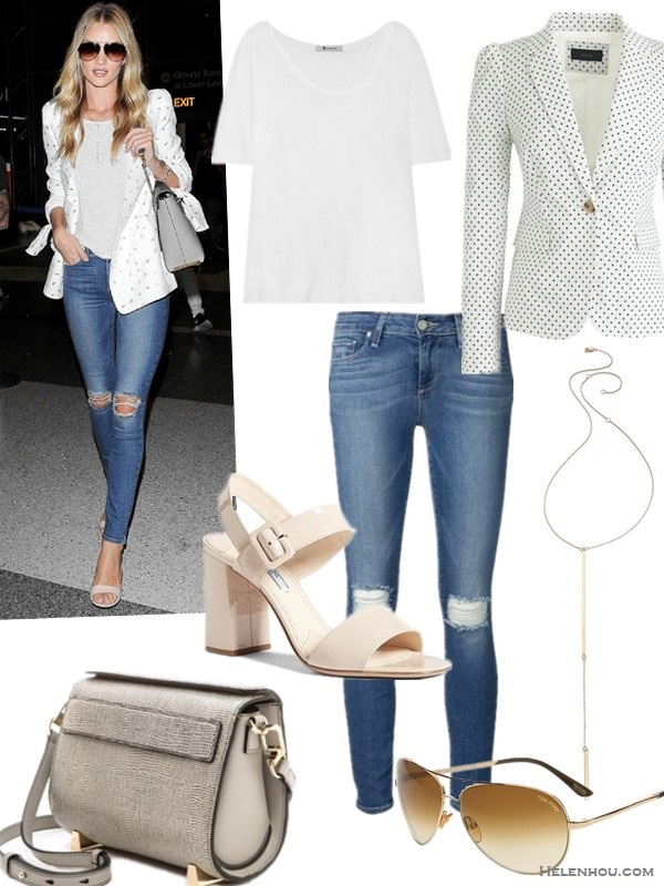 celebrity airport style 2014; models off duty looks; casual chic outfit ideas;  Clockwise from top left:  T-shirt: T by Alexander Wang Cotton-jersey T-shirt (wardrobe essential!)  Blazer: J.Crew PUFF-SLEEVE BLAZER IN TRIANGLE DOT (love the subtle puff sleeves!)  Necklace: Jennifer Zeuner Jewelry Pamola Lariat Necklace (made in the USA)  Sunglasses: Tom Ford 'Charles' 62mm Aviator Sunglasses (alternative here!)  Jeans: Paige Denim Verdugo Ankle Jeans with Distressed Knees (yes, it's the pair on her; also here)  Shoe: Prada Bicolor Two Strap Block Heel Sandal (similar here)  Bag: Alexander Wang Chastity Mini Bag
