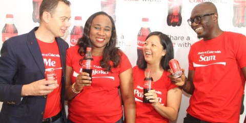 (L-R) National Commercial Director, Nigerian Bottling Company Limited, Matthieu Seguin; Marketing Manager, Colas, Coca-Cola Nigeria Limited, Bolajoko Bayo-Ajayi; Marketing Director, Coca-Cola Nigeria Limited, Patricia Jemibewon; and Communications Manager, Coca-Cola Nigeria Limited, Sam Umukoro, at the media launch of the Share a Coke campaign of Coca-Cola, held at Protea hotel, GRA Ikeja on Wednesday, January 7th.