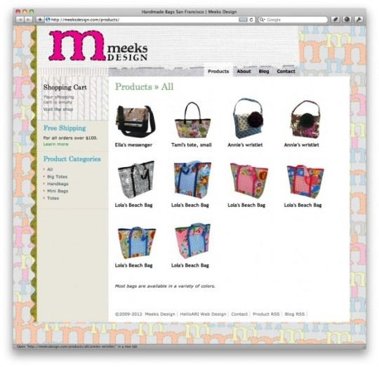 meeks bags ecommerce 619x600 Crafty Cart WPEC theme