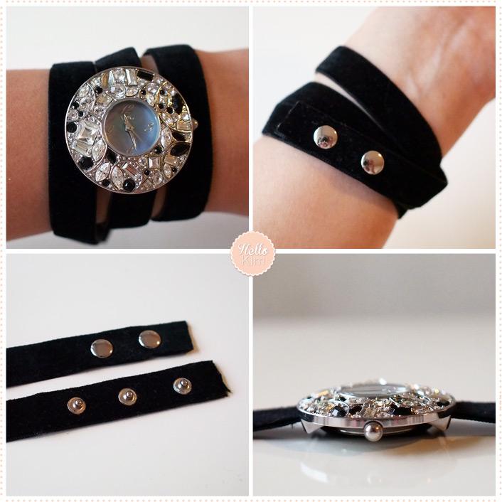 Montre bijoux bracelet ruban noir Delta - détails - HelloKim