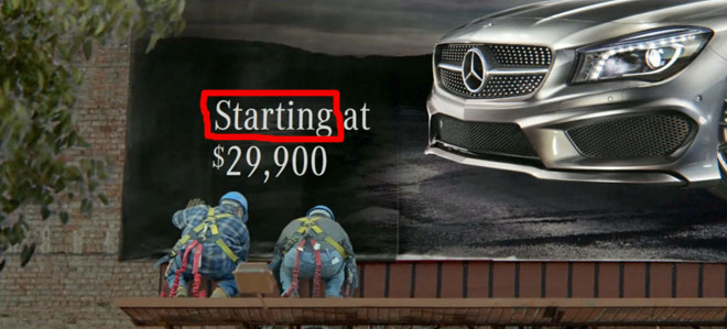 The Mercedes Benz CLA starts at $29,900 in the Soul Superbowl ad.