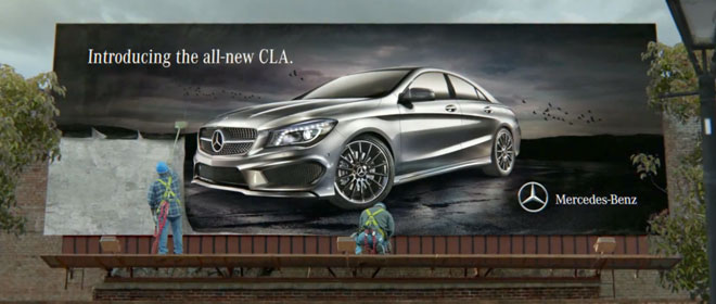 "Billboard of the Mercedes Benz CLA in the ""Soul"" Superbowl ad."