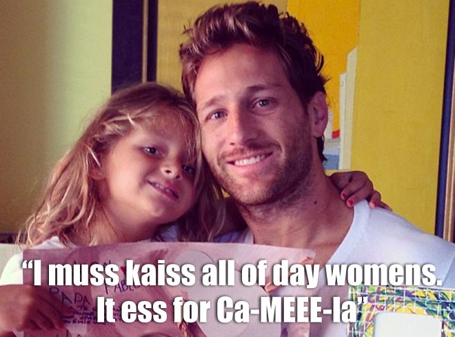 Bachelor Juan Pablo poses with his daughter Camila.