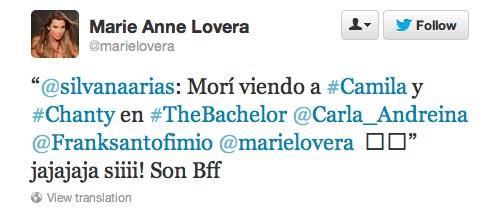 Bachelor Juan Pablo's ex-wife Carla Rodriquez tweets during the Bachelor premier.