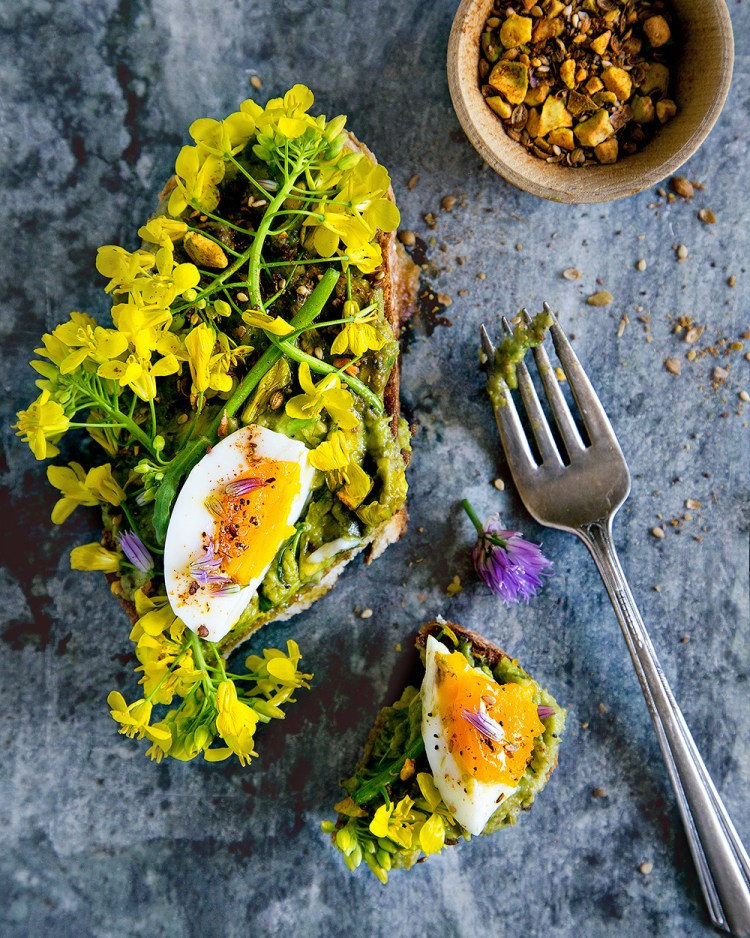 Avocado Toast with Dukkah, Flowers and Soft Boiled Eggs