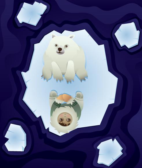 Polar bear cub and inuit child adrift on ice