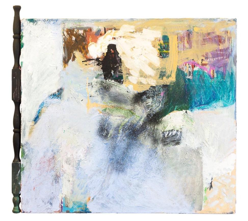 On Our SideOil, housepaint, spraypaint, ink, oil-bar on canvas, wood. 68cm x 60cm.