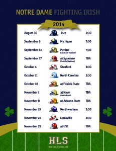 Printable 2014 Notre Dame Football Schedule
