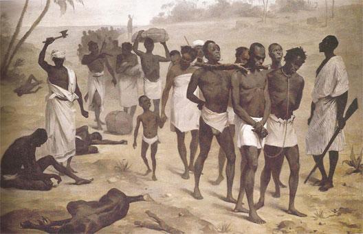 Convoi de captifs en Afrique au XIXe siècle (gravure abolitionniste)