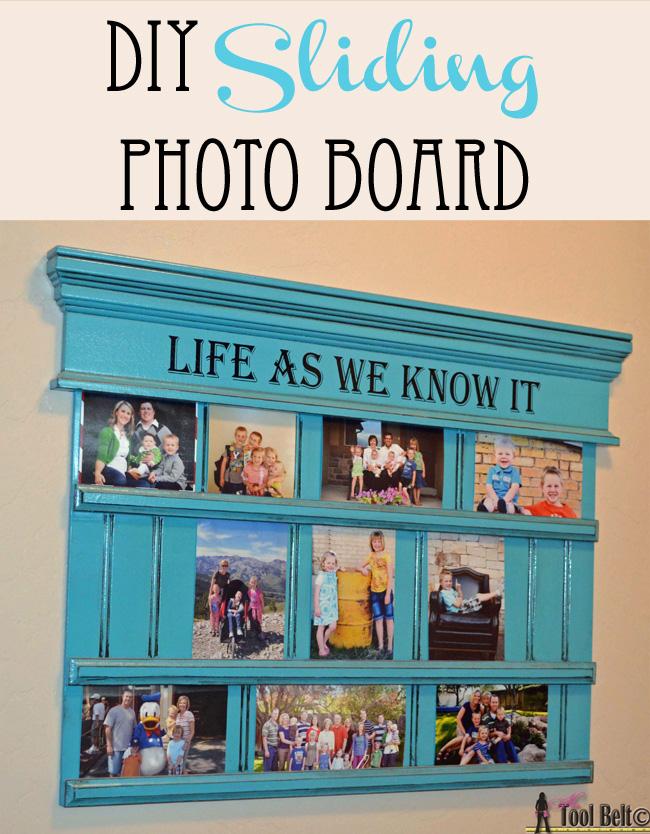 DIY sliding photo board for pictures on hertoolbelt