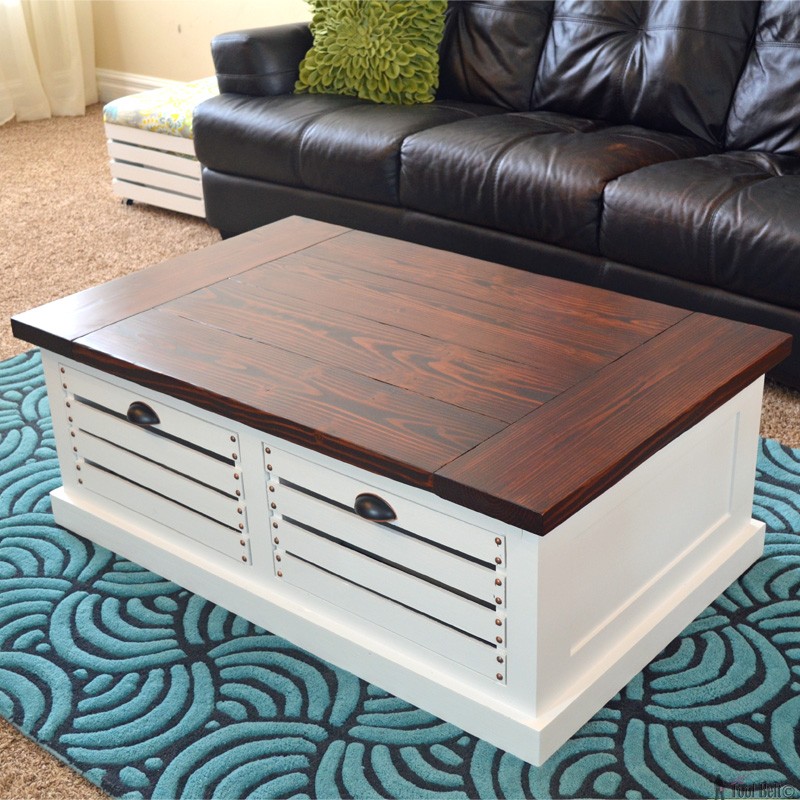 ... crate storage coffee table, free woodworking plans. #Ryobiorganized