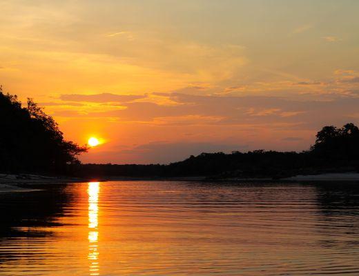 Sunset on the Urubu River - Amazon, Brazil