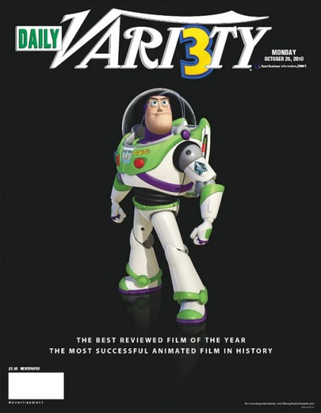 Toy Story 3 Variety 466x600 Toy Story 3 Aims for Best Feature at the Oscars with Imaginative Campaign