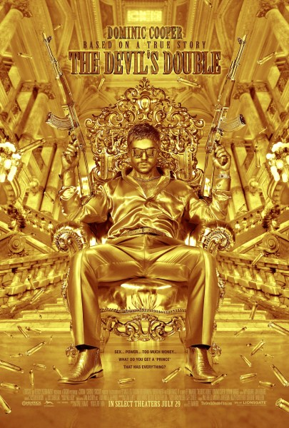 The Devils Double Poster lr 405x600 Crazy New Poster for The Devils Double Shows Dominic Cooper Armed in Gold