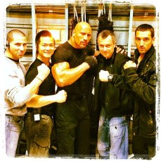 Dwayne Johnson on set of Fast and Furious 6