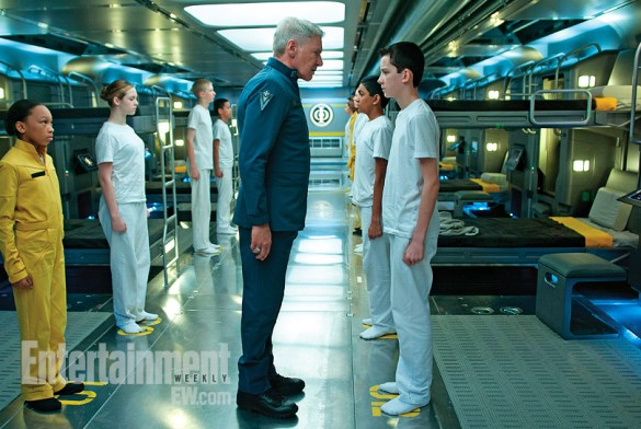 Harrison Ford and Asa Butterfield in Enders Game 585x392 First Look Image: Harrison Ford & Asa Butterfield in Ender's Game