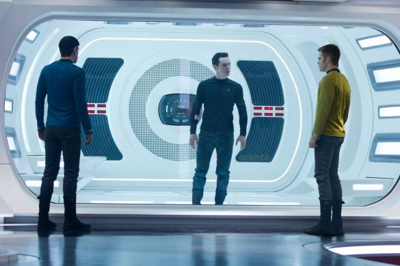 Zachary Quinto Benedict Cumberbatch and Chris Pine in Star Trek Into Darkness 585x389 New Image of Chris Pine, Zachary Quinto & Benedict Cumberbatch in Star Trek Into Darkness