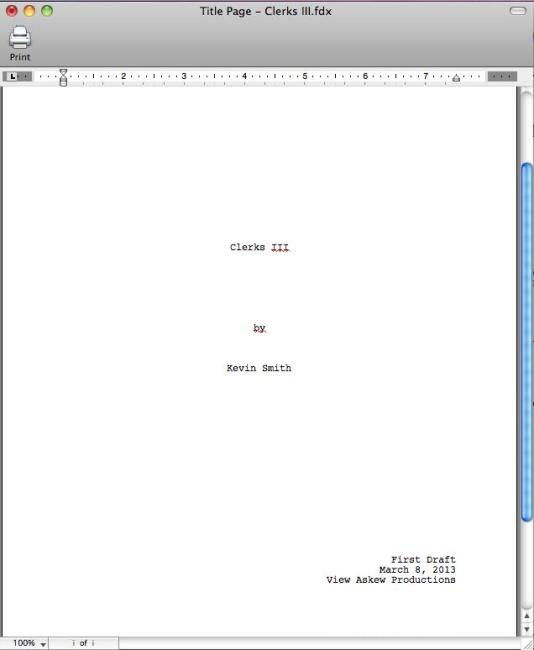 Clerks III First Draft Front Page 534x650 Kevin Smith begins writing Clerks III – 'The Best Film I'll Ever Make'
