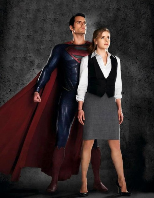 Henry Cavill and Amy Adams Man of Steel 505x650 New Image from Man of Steel Shows Amy Adams and Henry Cavill Posing
