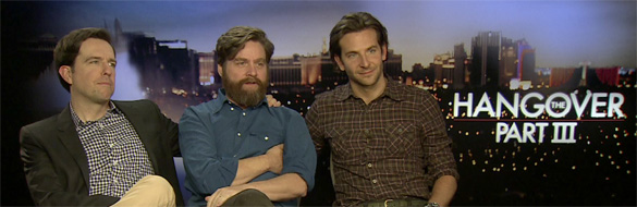 Zach Ed and Bradley The Hangover 3 The HeyUGuys Interview: Bradley Cooper, Zach Galifianakis & Ed Helms discuss the end of The Hangover