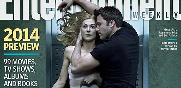 Gone Girl EW Cover slice 585x287 Post Mortem Preview of Rosamund Pike with Ben Affleck in David Fincher's Gone Girl