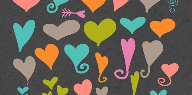 Free download ~ Photoshop custom shapes, hearts