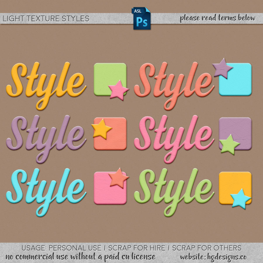 Free download ~ light textured photoshop layer styles ~ courtesy of hgdesigns.co