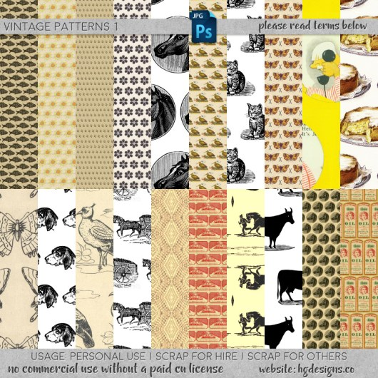 Free download ~ seamless tiling vintage patterns ~ courtesy of hgdesigns.co