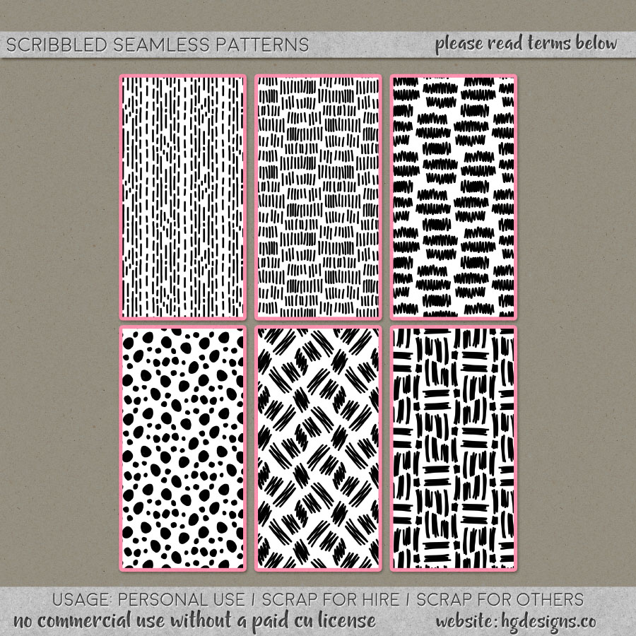Free download ~ seamless tiling hand drawn scribble patterns