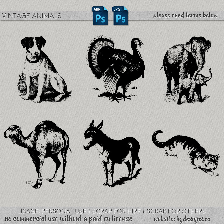 Free download ~ vintage animal photoshop brushes