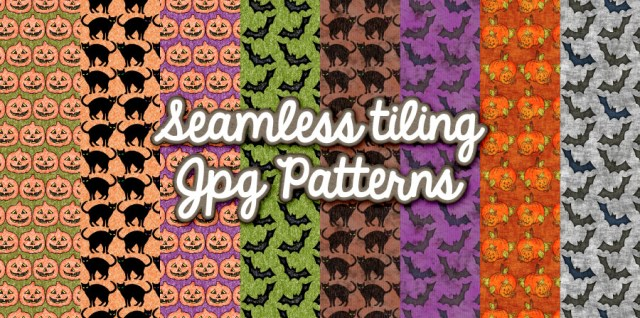 Free download ~ seamless tiling halloween patterns in jpg format