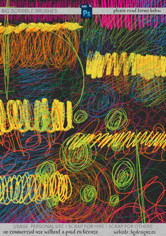 Free download ~ big scribble brushes for use in Photoshop