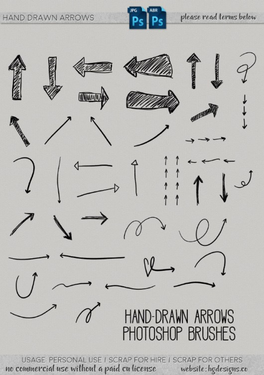 Free download ~ Hand-drawn arrow Photoshop Brushes