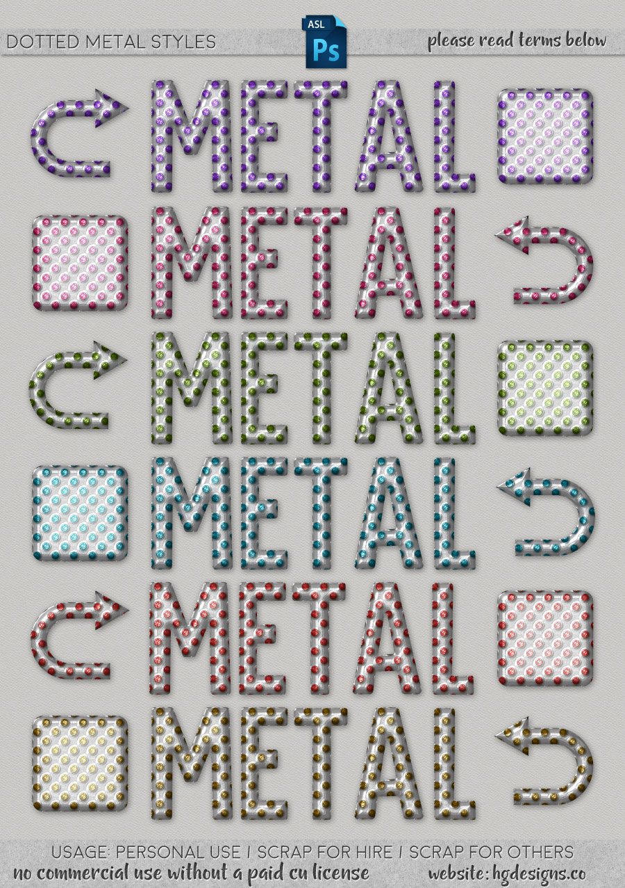freebie: dotted metal photoshop layer styles